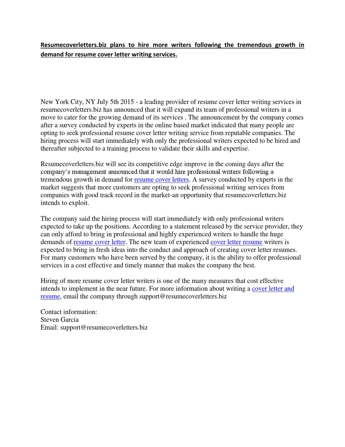 Resumecoverletters.biz plans to hire more writers following ...