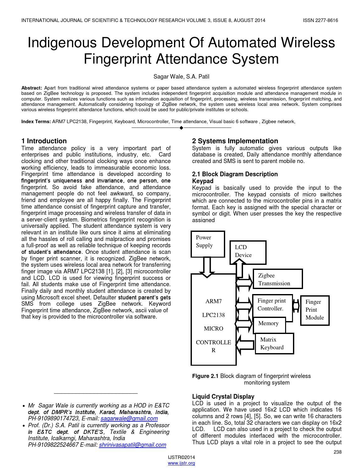 Indigenous development of automated wireless fingerprint attendance system