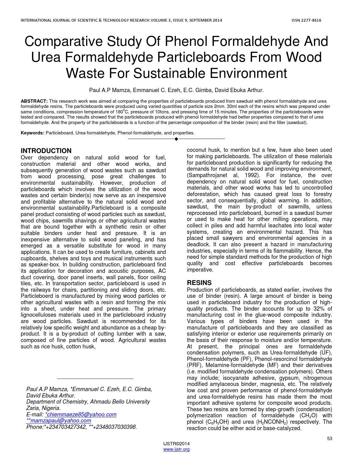 Comparative study of phenol formaldehyde and urea formaldehyde