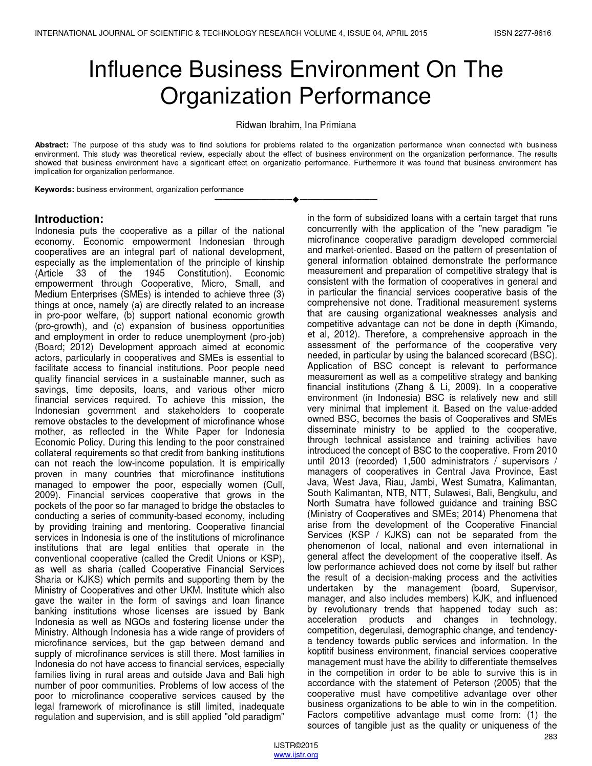 international business environment on organisational performance International journal of business performance management from inderscience publishers covers hard and soft perspectives in performance measurement and management in public and international journal of business performance management organisational learning ethical and environmental.