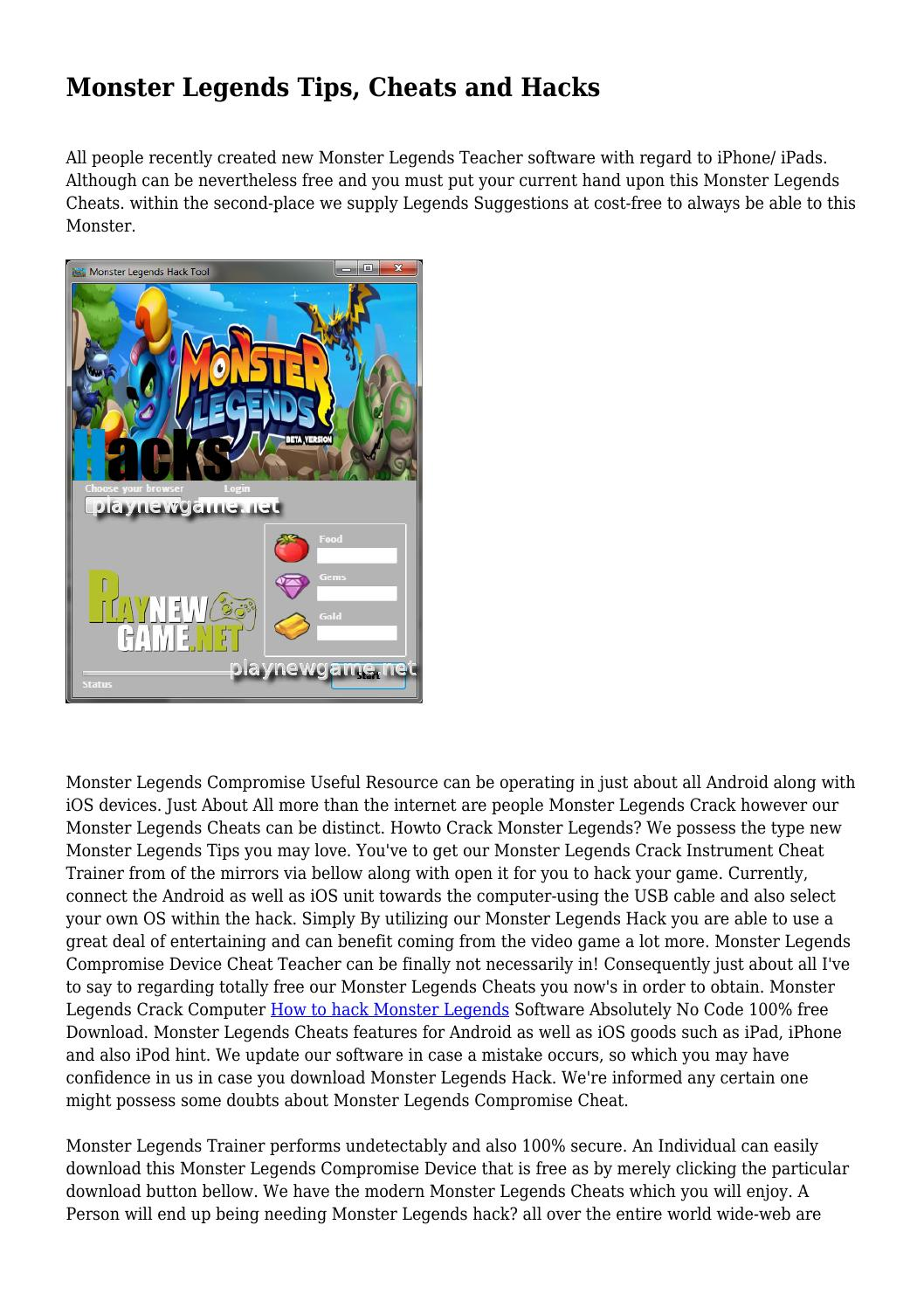 Monster Legends Tips Cheats And Hacks By Gouldhlbrcdctsj Issuu