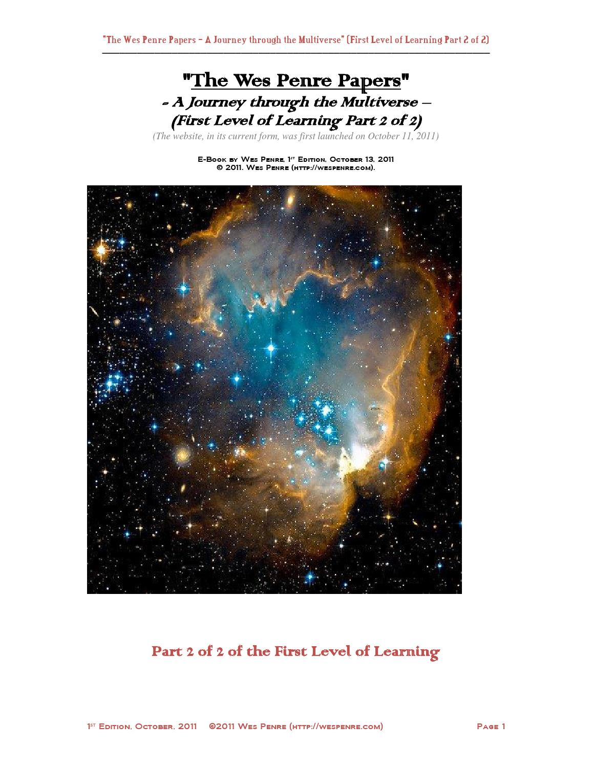 The Wes Penre Papers--First Level of Learning Part 2 by Wes