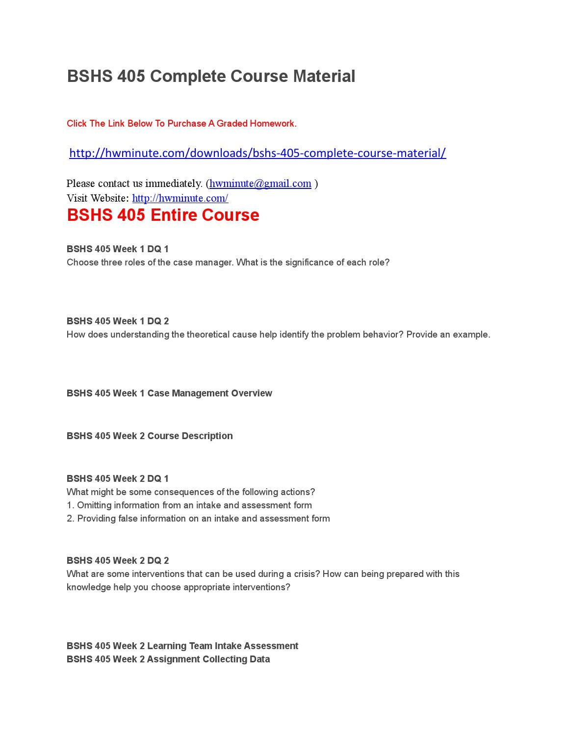 Bshs 405 Complete Course Material By Stephniertin Issuu