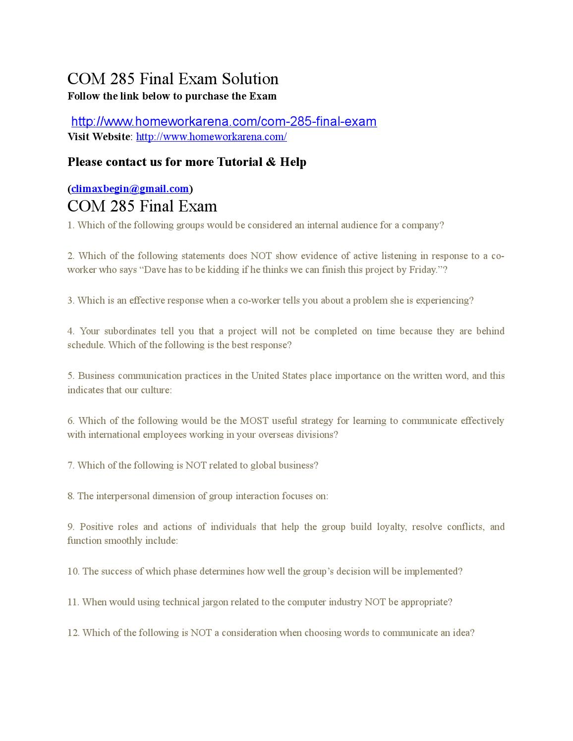 com 285 final exam b Quizlet provides health hs 285 activities,  hs 285 final exam ache fah hfma aupha american college of healthcare executives federation of american hospitals.