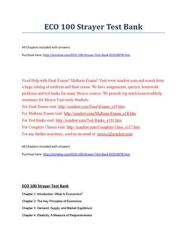 Eco 100 Strayer Test Bank Strayer University New By