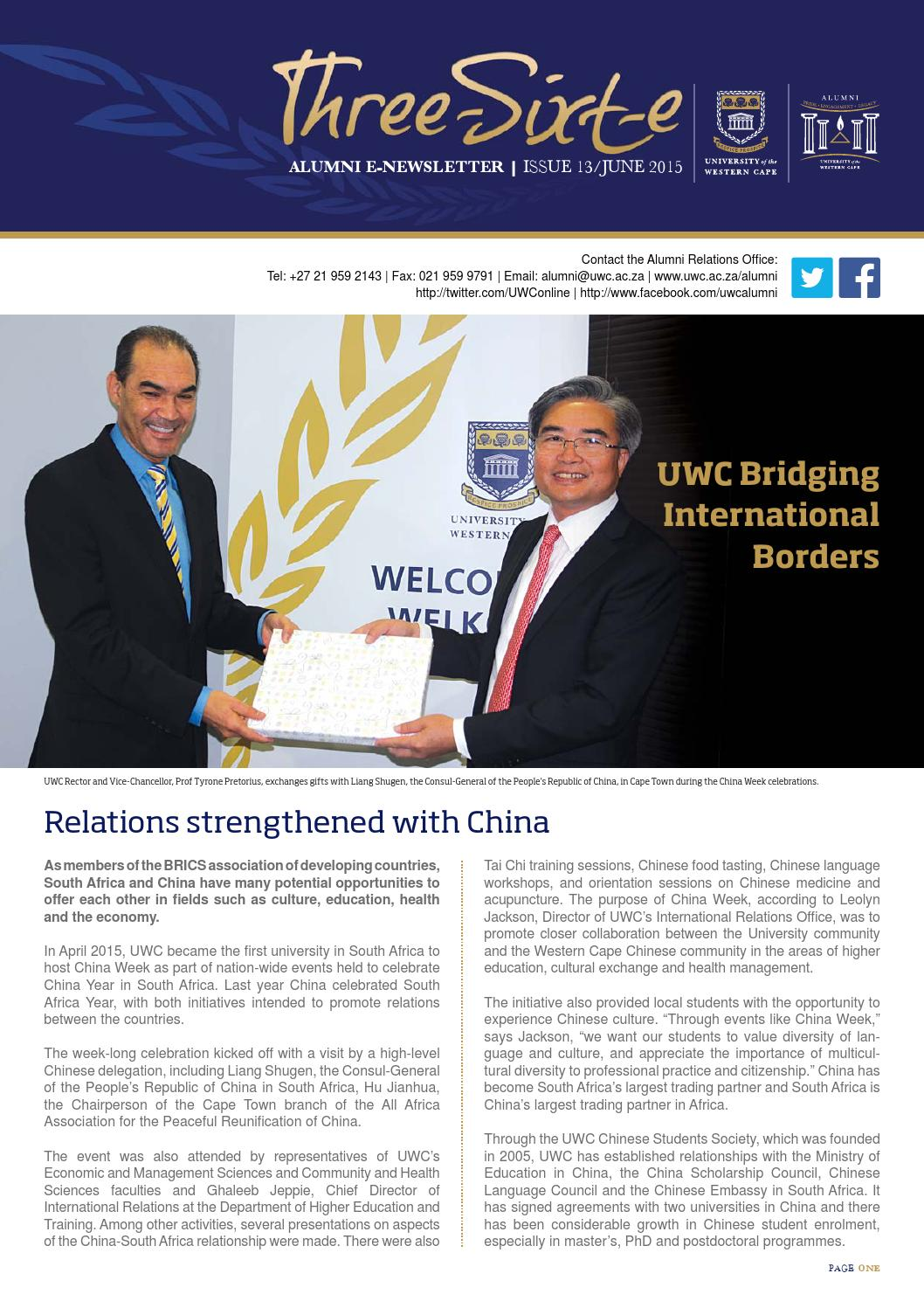 Uwc Three Sixt E Alumni E Newsletter Issue 13june 2015 By The