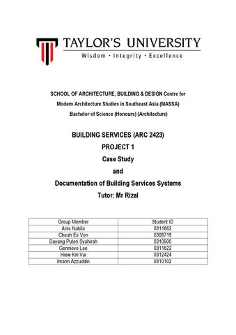 Project 1 - Case Study and Documentation of Building Services