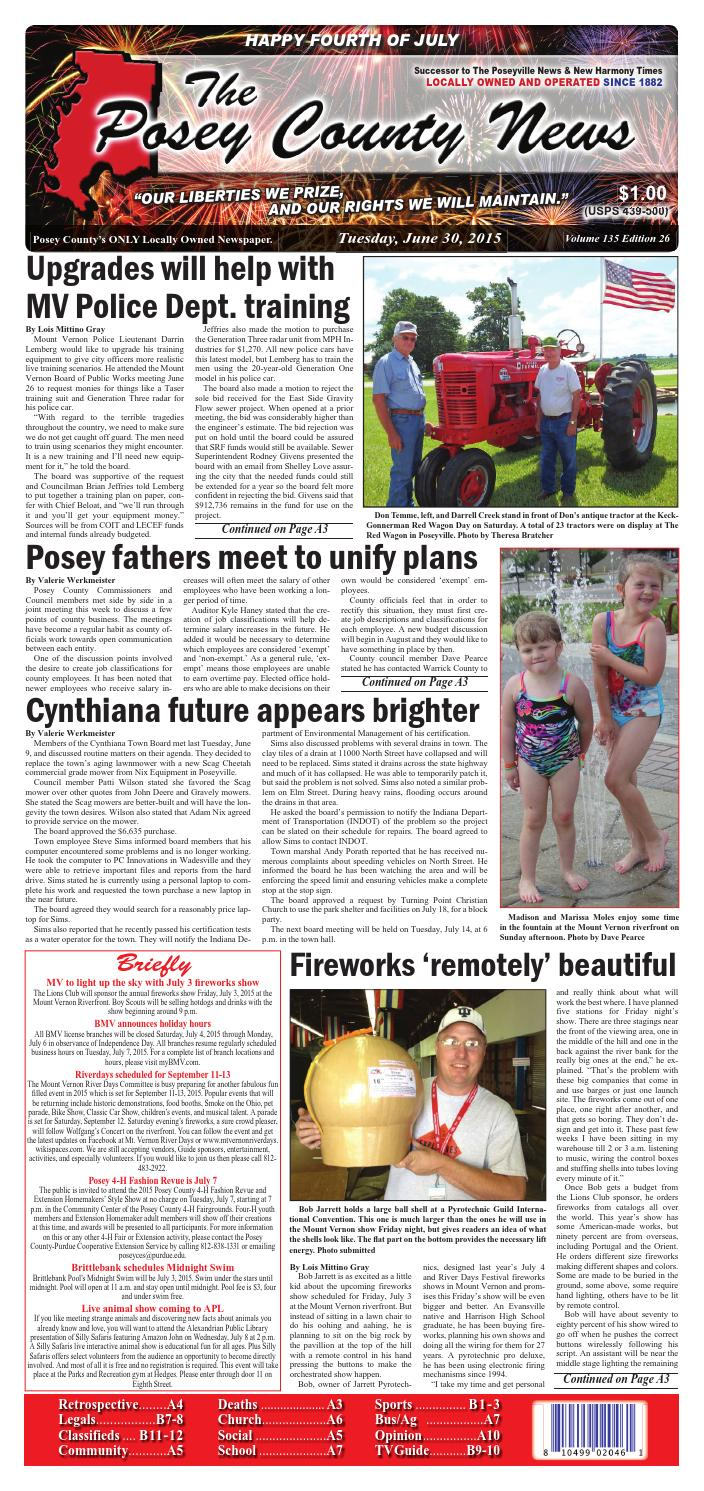 June 30, 2015 - The Posey County News by The Posey County News - issuu