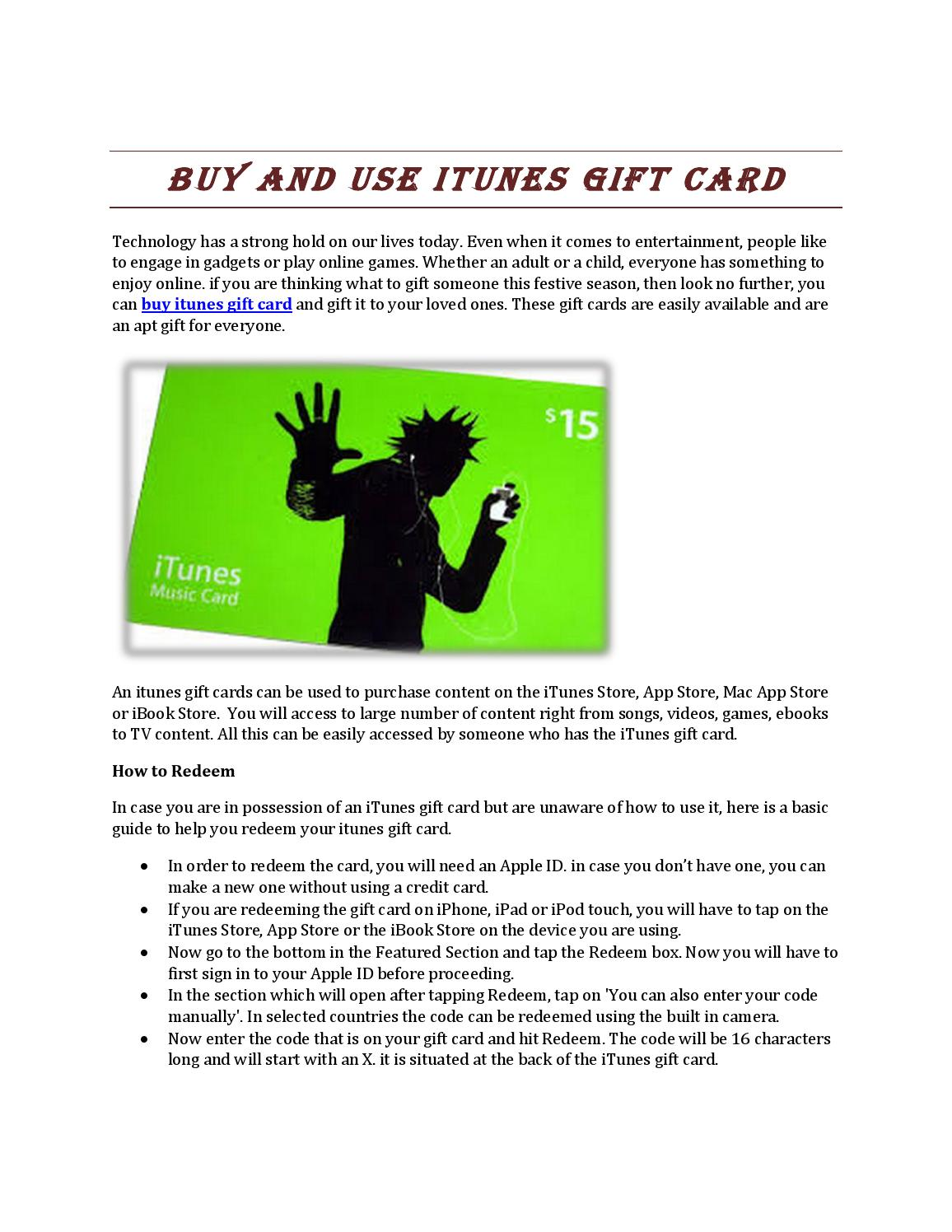 Buy and use itunes gift card by Alexander Queen - issuu