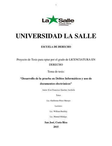 Tesis para Optar por el grado de Licenciatura: Ever Sánchez Azofeifa ...