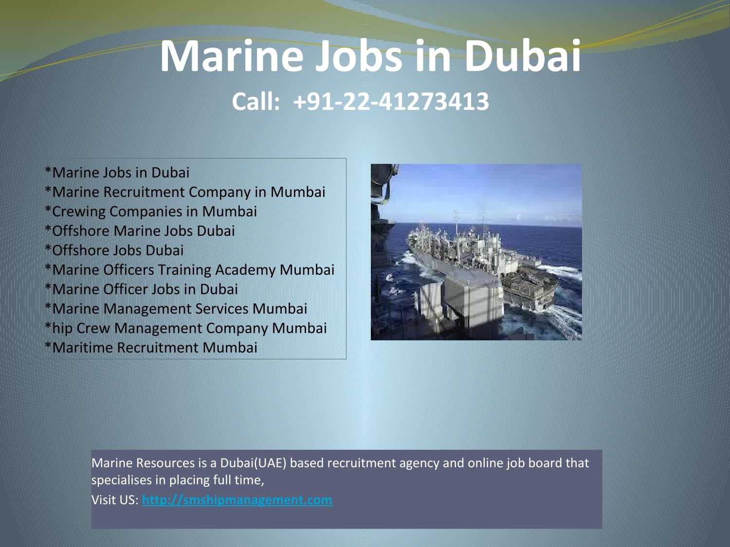 Maritime Recruitment Mumbai,Offshore Marine Jobs Dubai, Marine Jobs