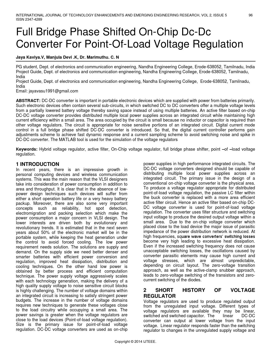 Full Bridge Phase Shifted On Chip Dc Converter For Point Of Load Compared To Linear Voltage Regulators The Switching Regulation By Ijteee Issuu