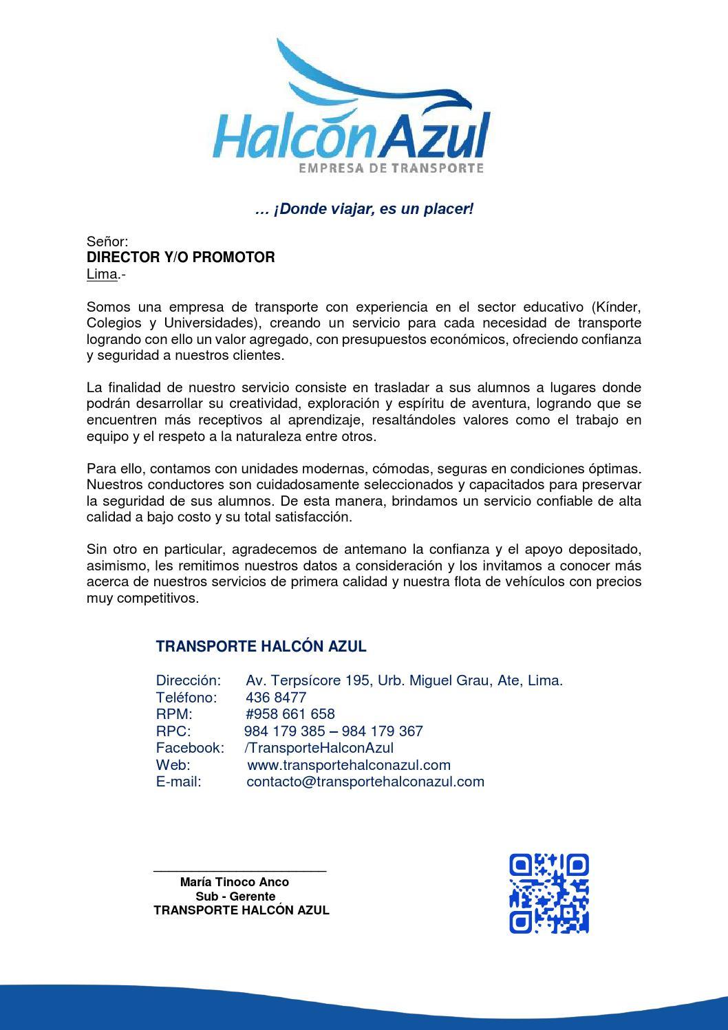 Carta de presentacion transporte escolar by TRANSPORTE HALCON AZUL ...