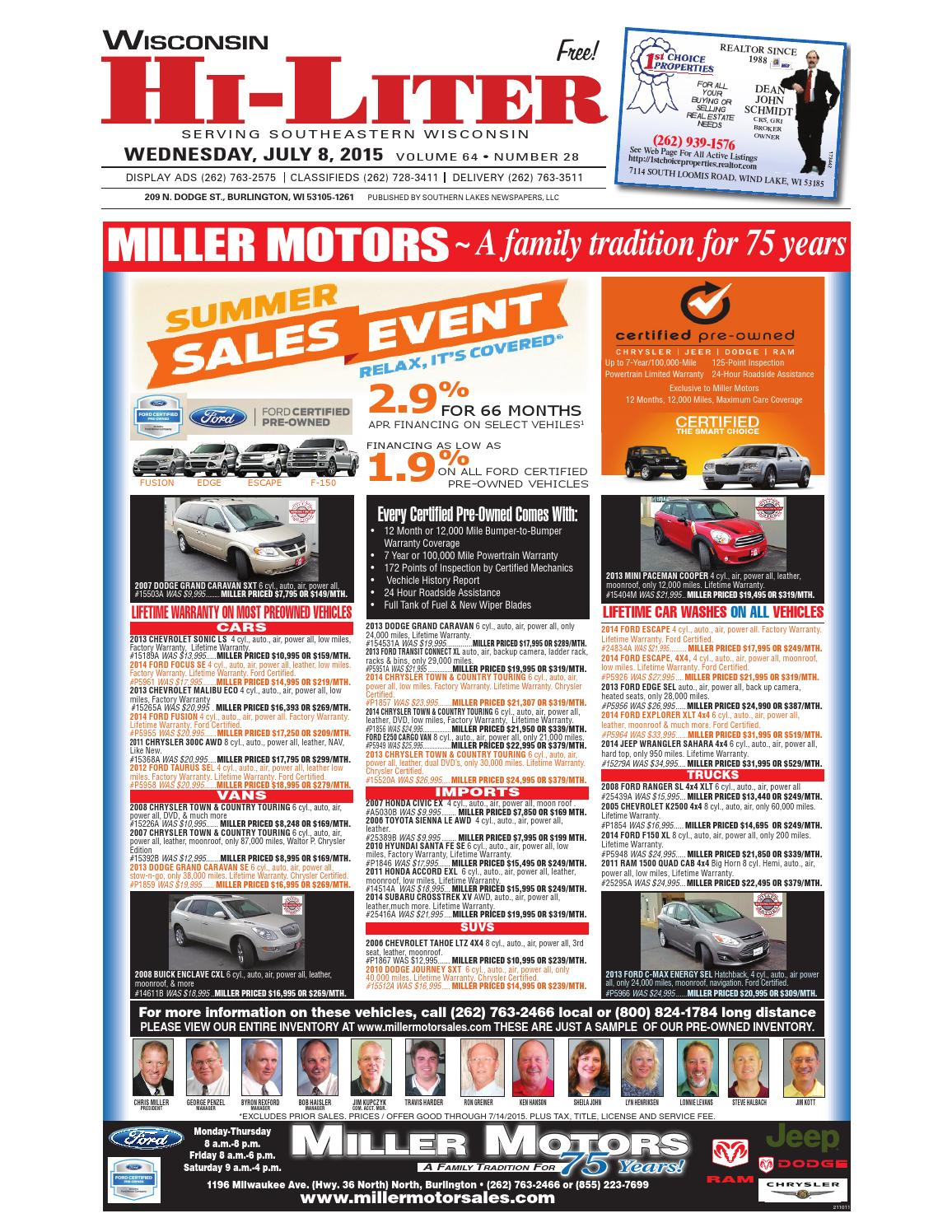 Wis final by southern lakes newspapers issuu for Miller motors burlington wisconsin