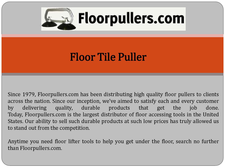 Floor Tile Puller By Ellisdesigngroupllc Issuu