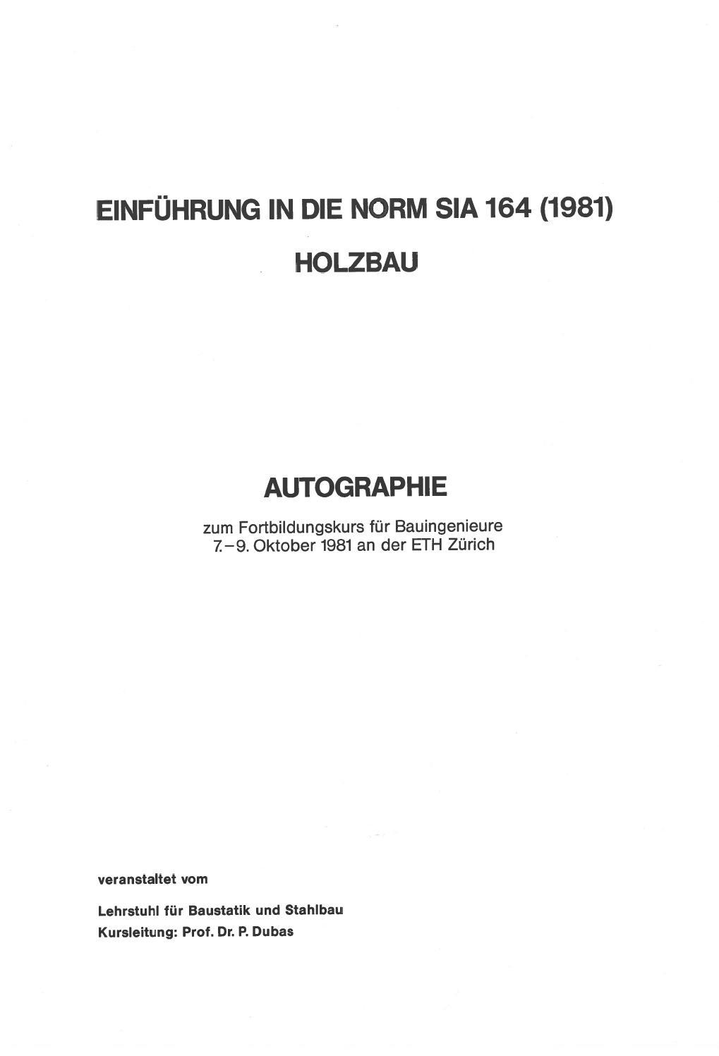 Einführung in die Norm SIA 164 (1981) Holzbau by Lignum - issuu