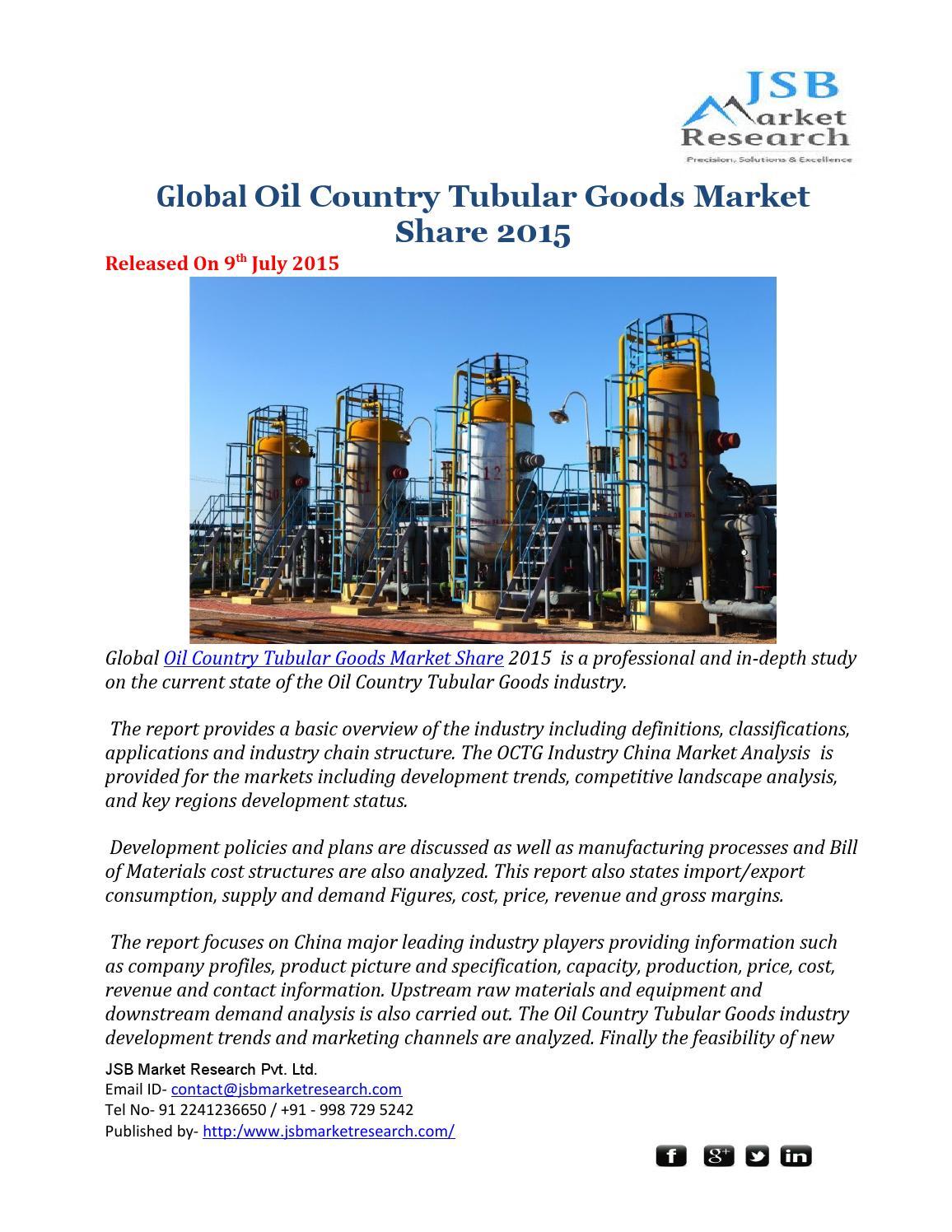 Global Oil Country Tubular Goods Market Share 2015 - JSB