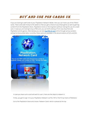 Buy and use psn cards uk