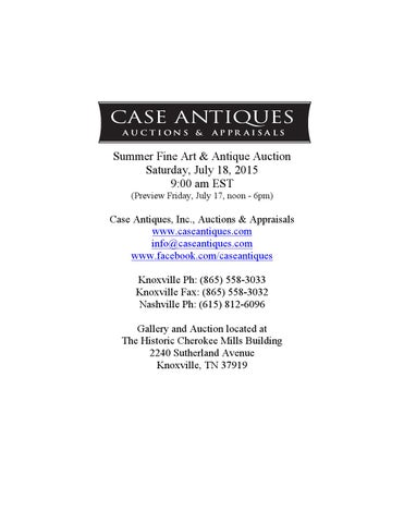 15af0be51b8 Case Antiques   Auctions - July 18 2015 Catalog by Case Antiques ...