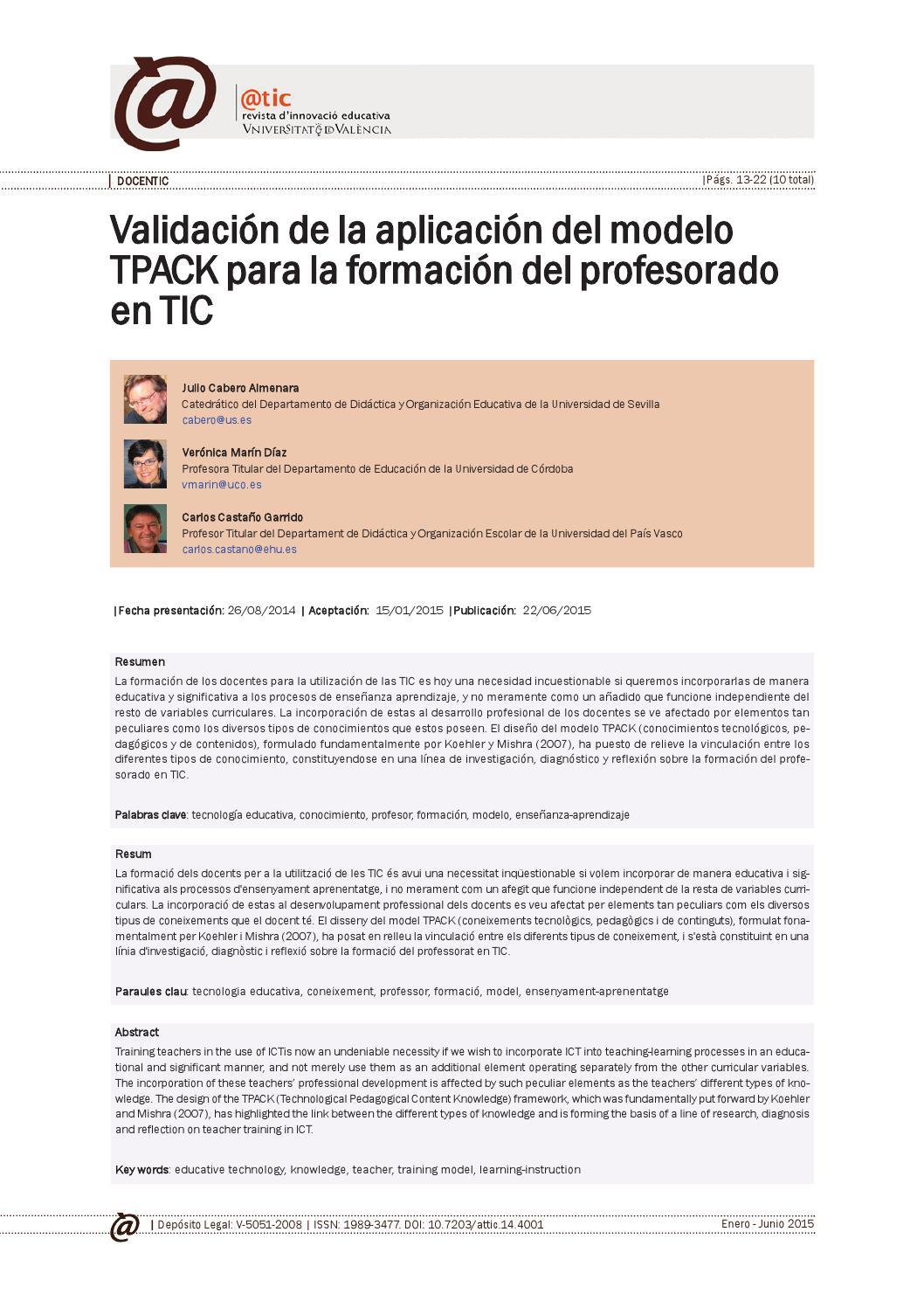 Validación de la aplicación del modelo tpack by Isabel Ortiz - issuu
