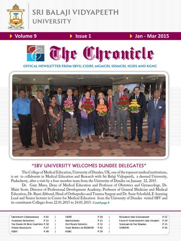 The Chronicle Vol9 Iss1 Jan Mar 2015 By Dept Of Medical Informatics