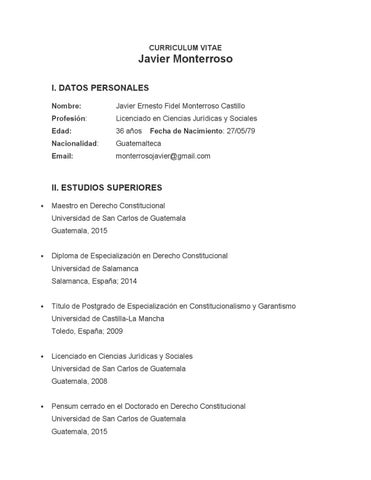 Javier Monterroso Curriculum Vitae By Ricardo Azurdia Issuu