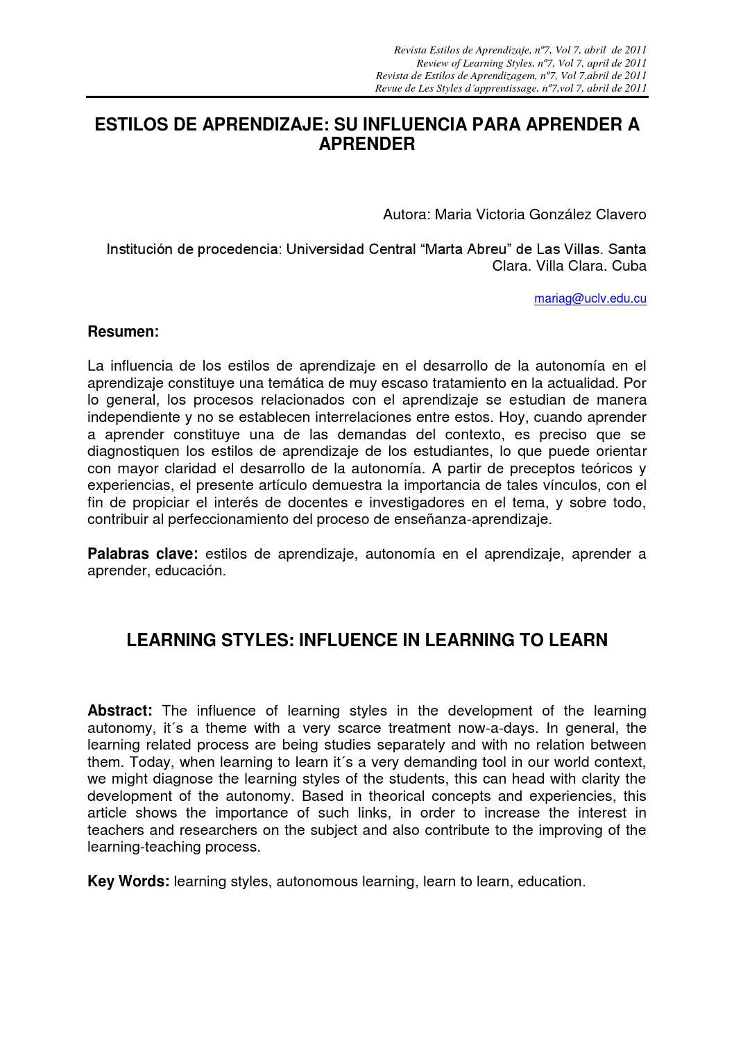Estilos de aprendizaje, su influencia para aprender a aprender by ...