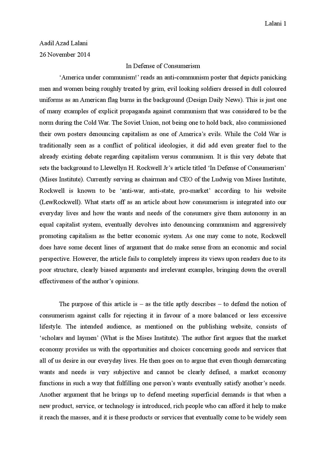 an analysis of the essay in defense of consumerism by llewellyn rockwell Books: wclf libertarian bibliography this list of suggested readings in libertarian theory and practice was developed in 1992 by paul geddes and steve vanagas of the greater vancouver libertarian association (gvla, now the west coast libertarian foundation) in vancouver, canada.
