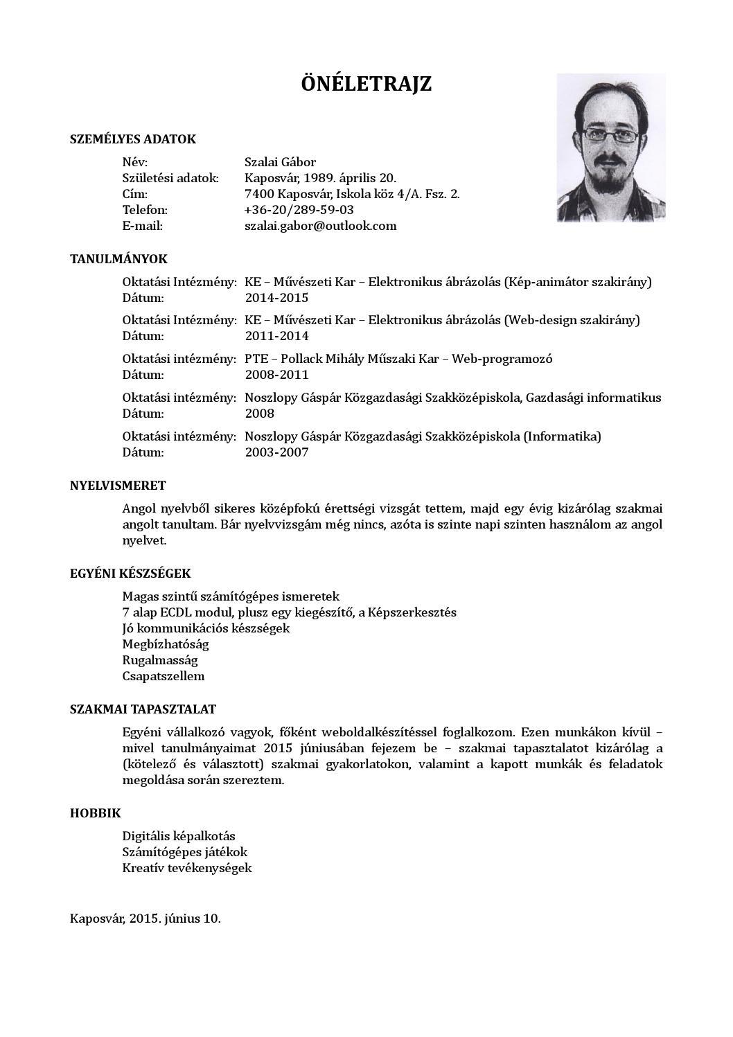 önéletrajz személyes készségek Szalai gabor oneletrajz 2015 by Szalai Gábor   issuu önéletrajz személyes készségek