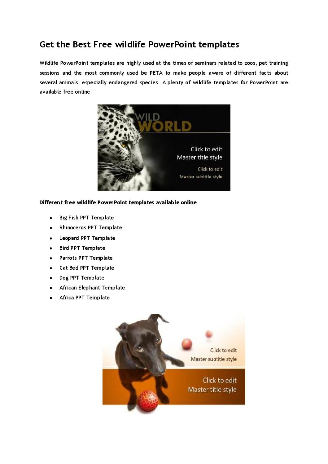 Get The Best Free Wildlife Powerpoint Templates By Ppttemplate Issuu