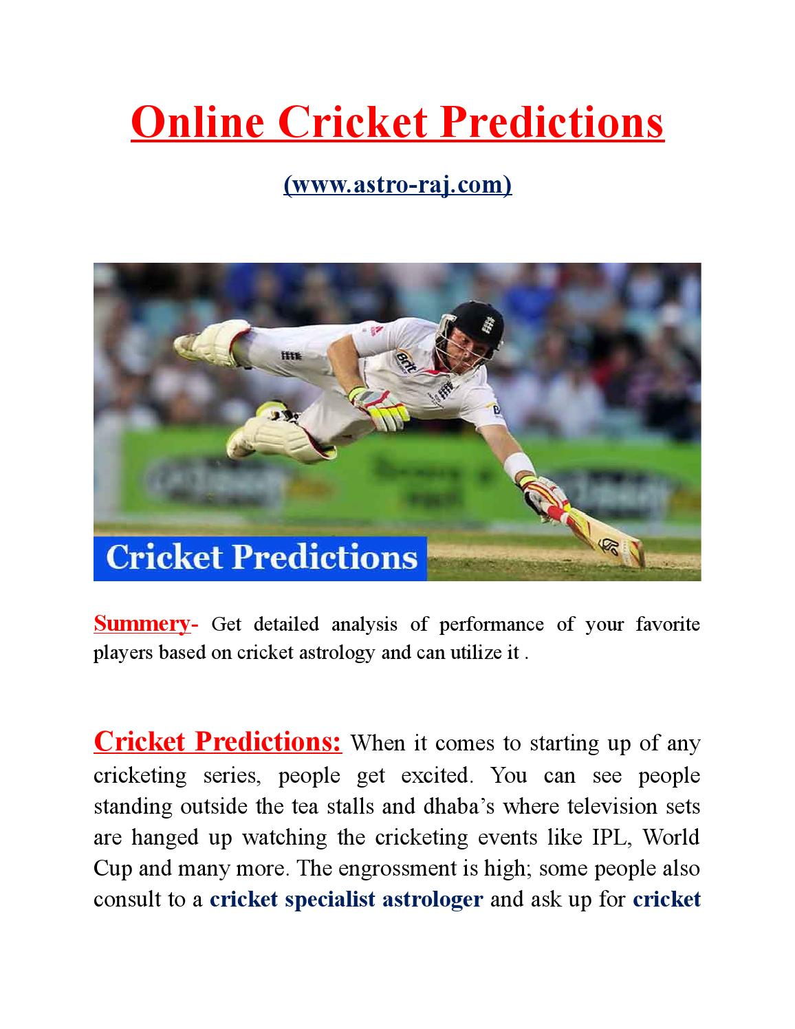 Cricket predictions by Astro Raj - issuu