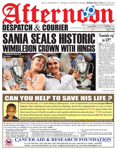 13 july 2015 by Afternoon Despatch & Courier - issuu