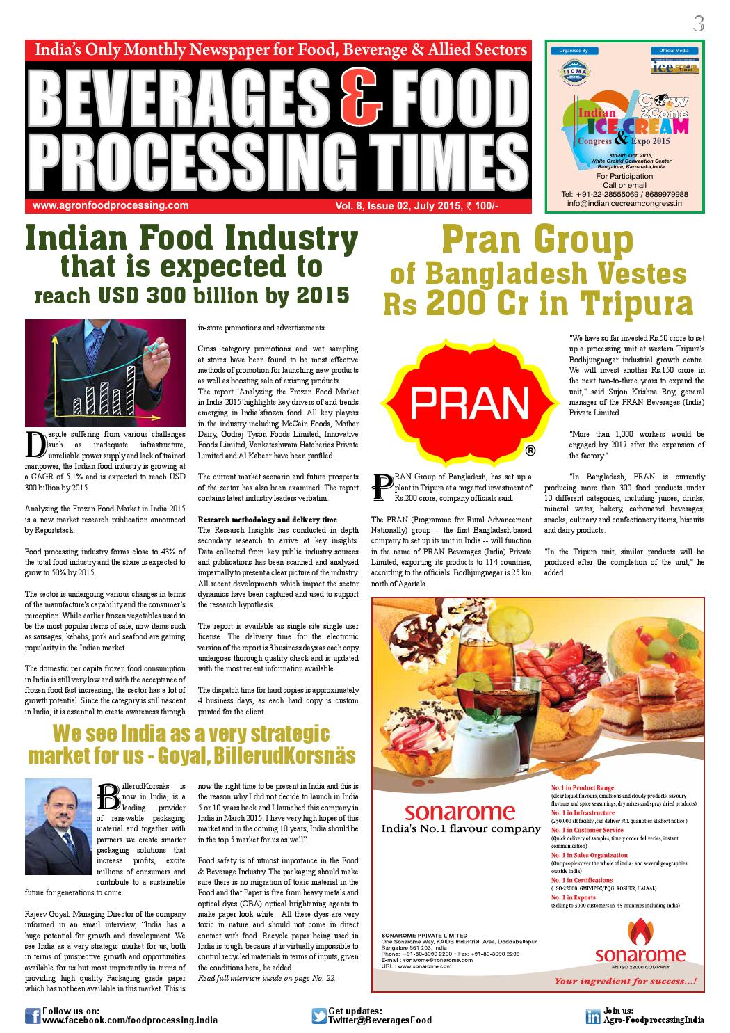 Beverages & Food Processing Times July 2015 by Advance Info
