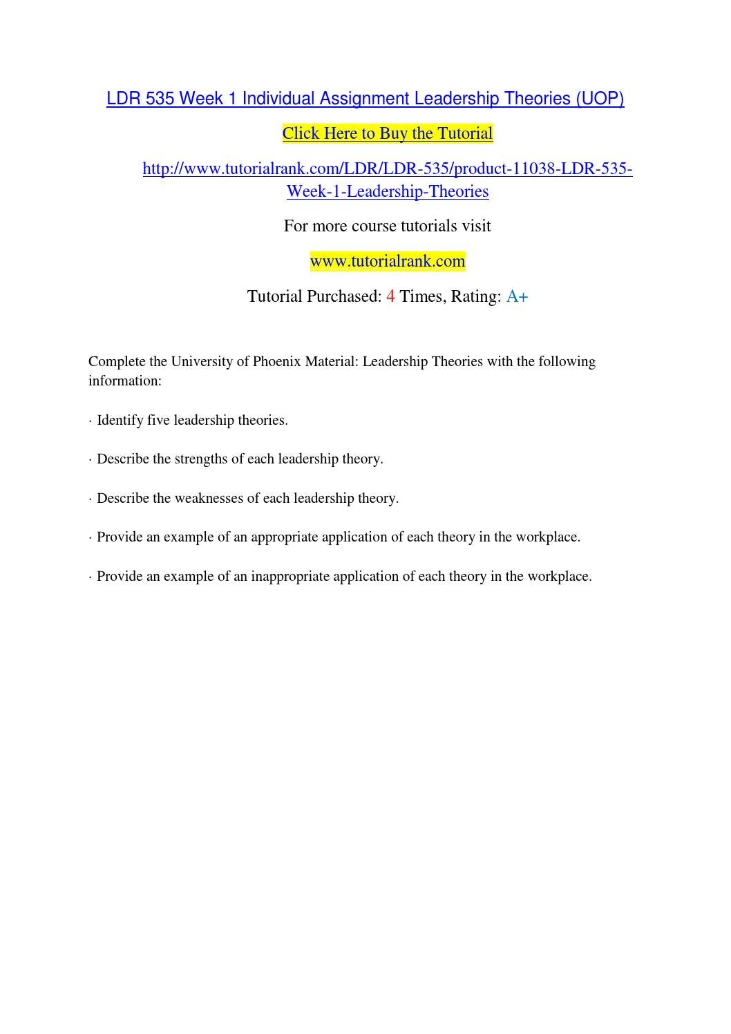 Ldr 535 week 1 individual assignment leadership theories (uop) by ...