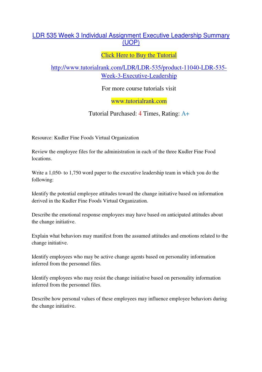 Kudler Fine Foods Management Assignment