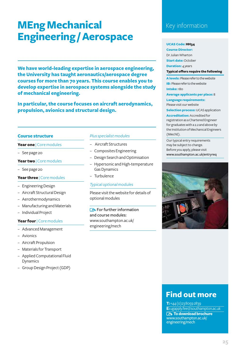 Mechanical Engineering undergraduate courses brochure 2016