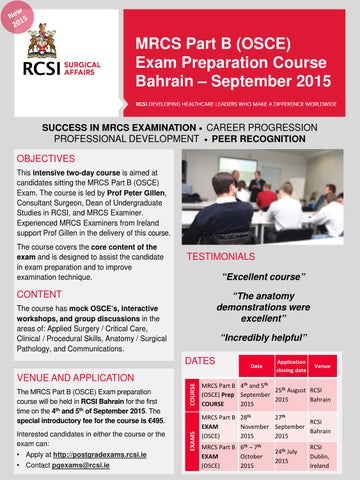 MRCS Part B (OSCE) Exam Preparation Course in Bahrain by Surgery