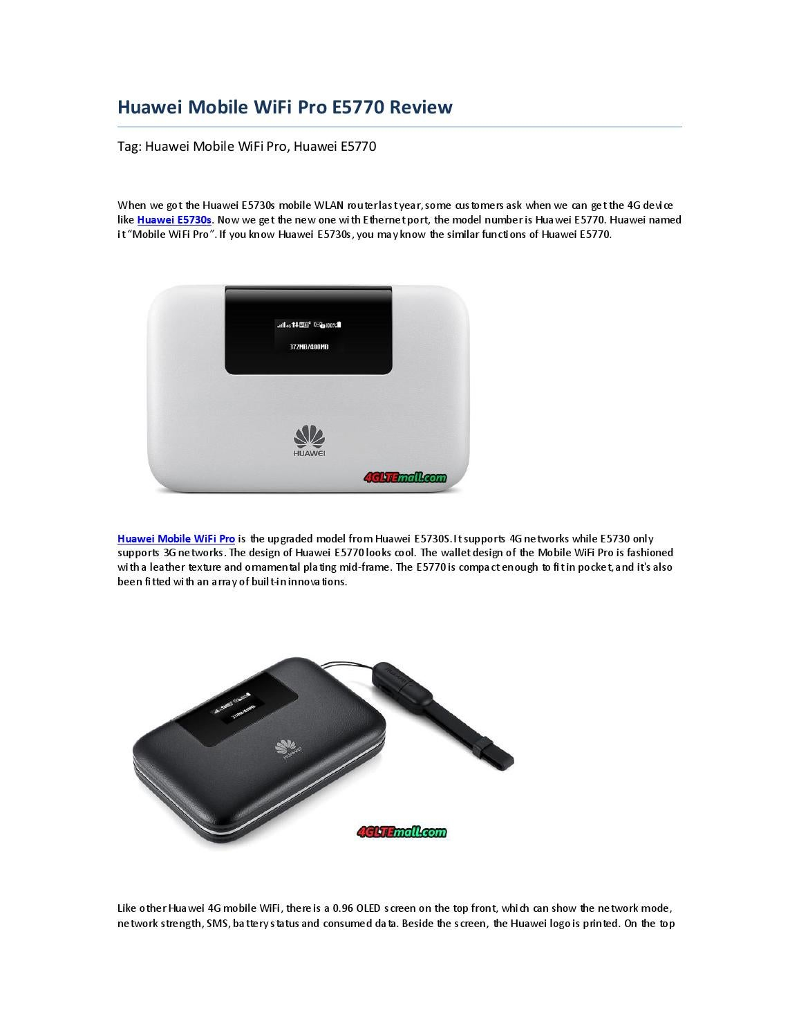 Huawei Mobile WiFi Pro E5770 Review by Lte Mall - issuu