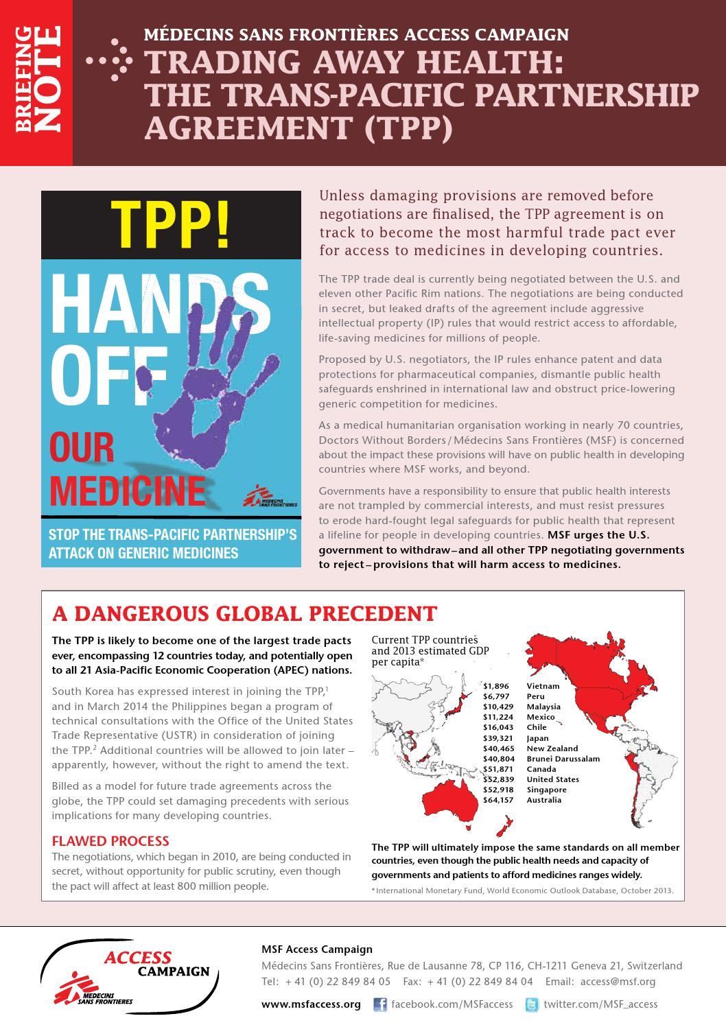 Trading Away Health The TPP By MSF Access Campaign
