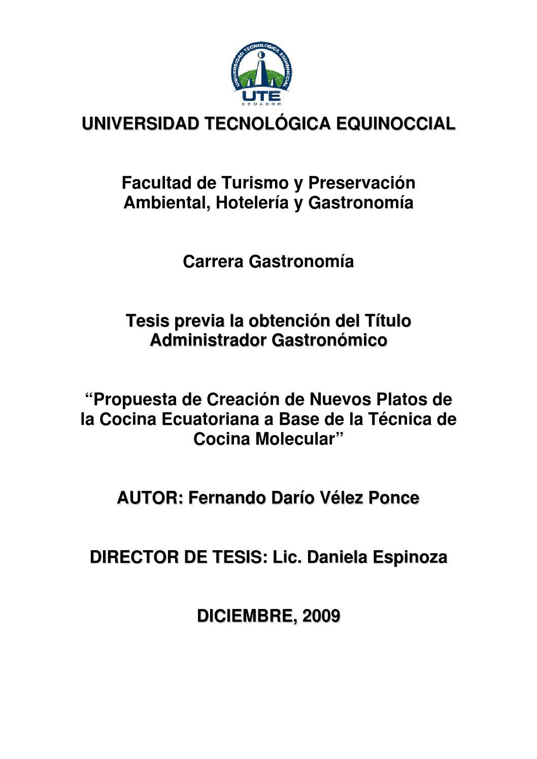 Creaci n de nuevos platos de la cocina ecuatoriana a base for Tecnicas de cocina molecular