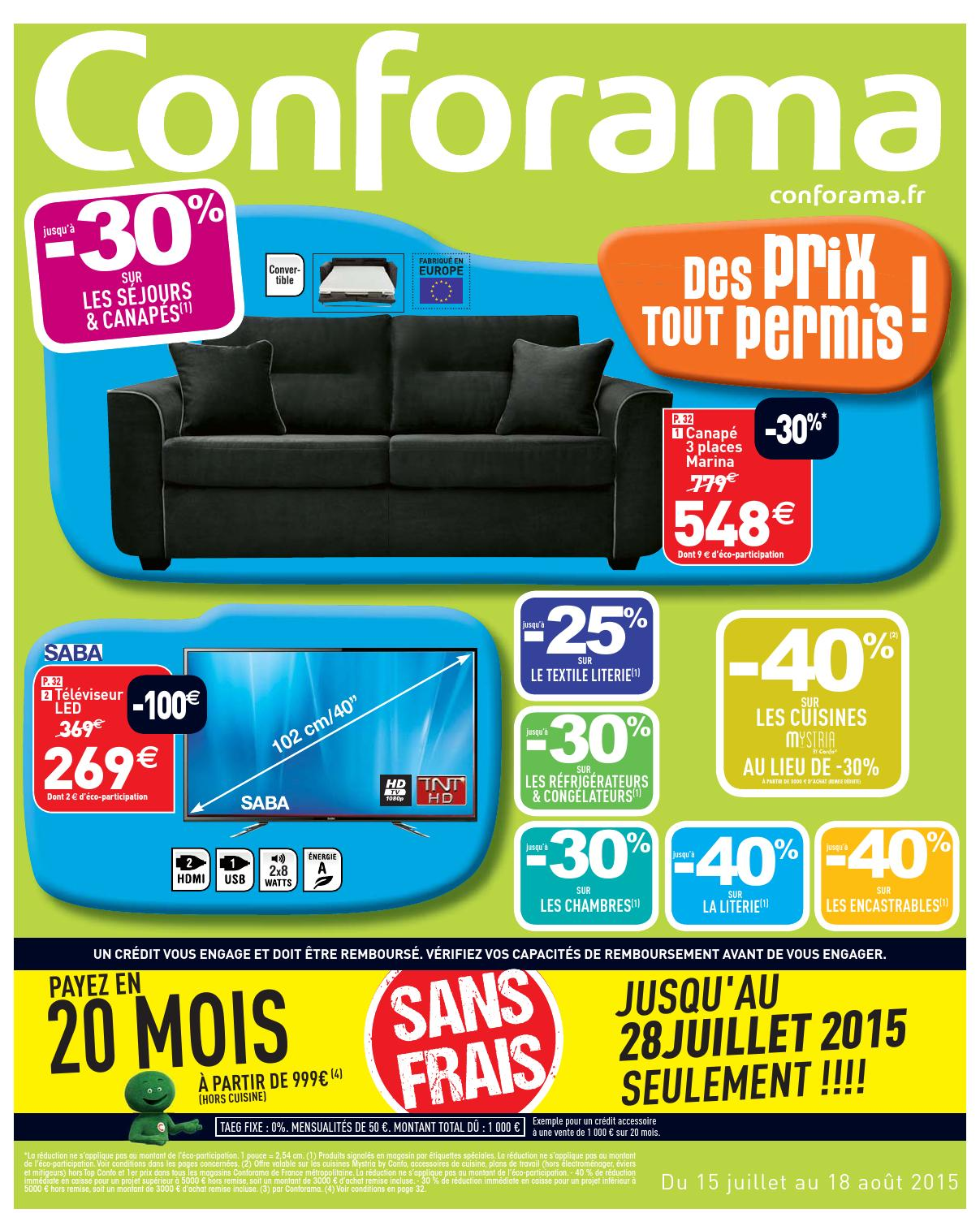 Conforama Catalogue 15juillet 18aout2015 By Promocatalogues Com  # Conforama Meuble Tv Brest