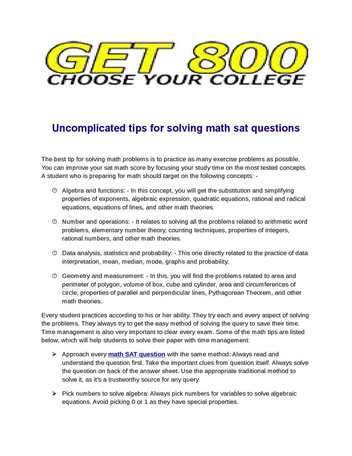 Math sat questions by Sat Prep - issuu