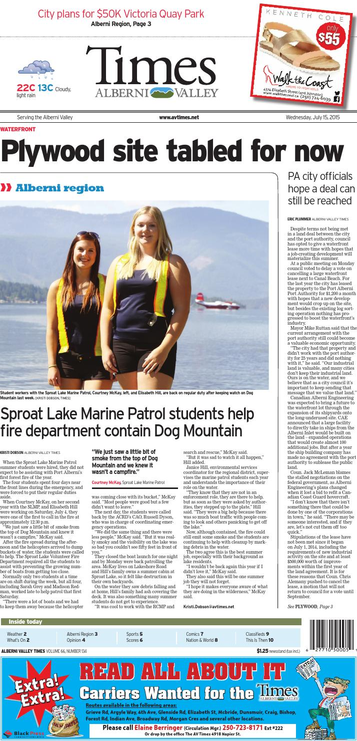 Alberni Valley Times, July 15, 2015 by Black Press Media