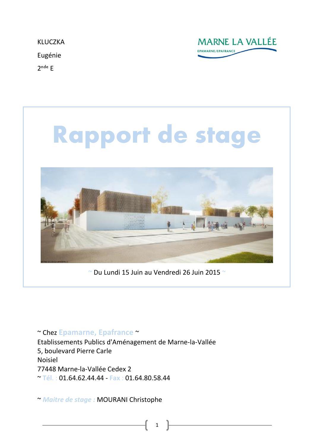 Bilan de stage exemple rapport de stage epa by laure kluczka issuu