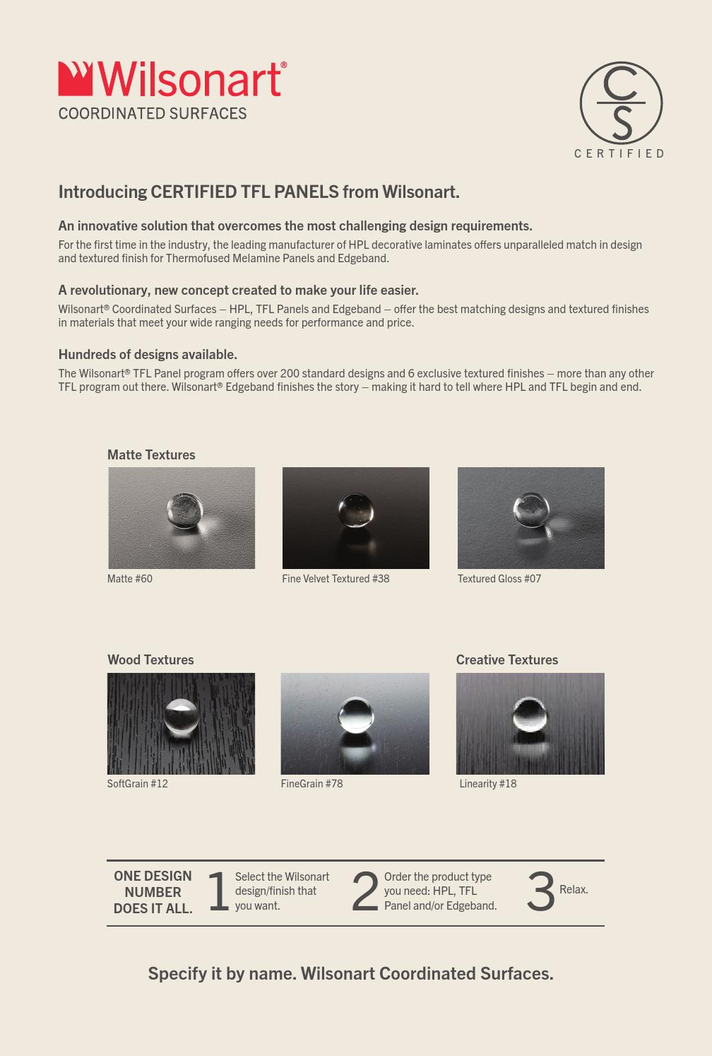 Wilsonart® Coordinated Surfaces Certified Panels Brochure by