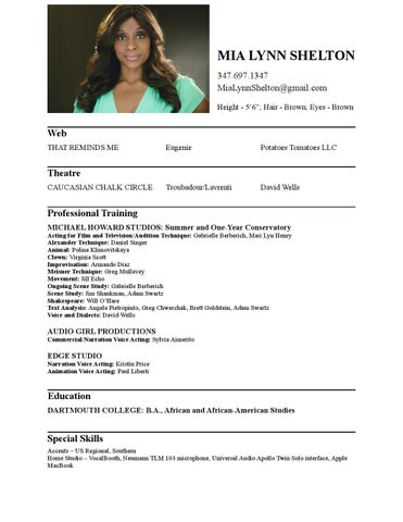 Mia Lynn Shelton Actor & Voice Actor Resume by MLS - issuu