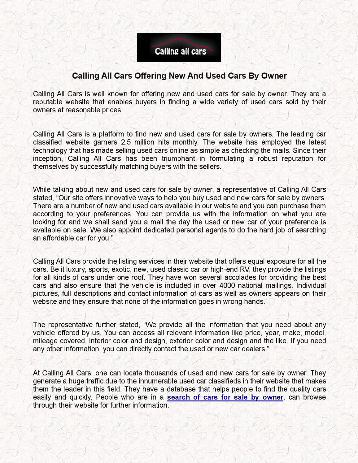 Calling all cars offering new and used cars by owner by cacars - issuu