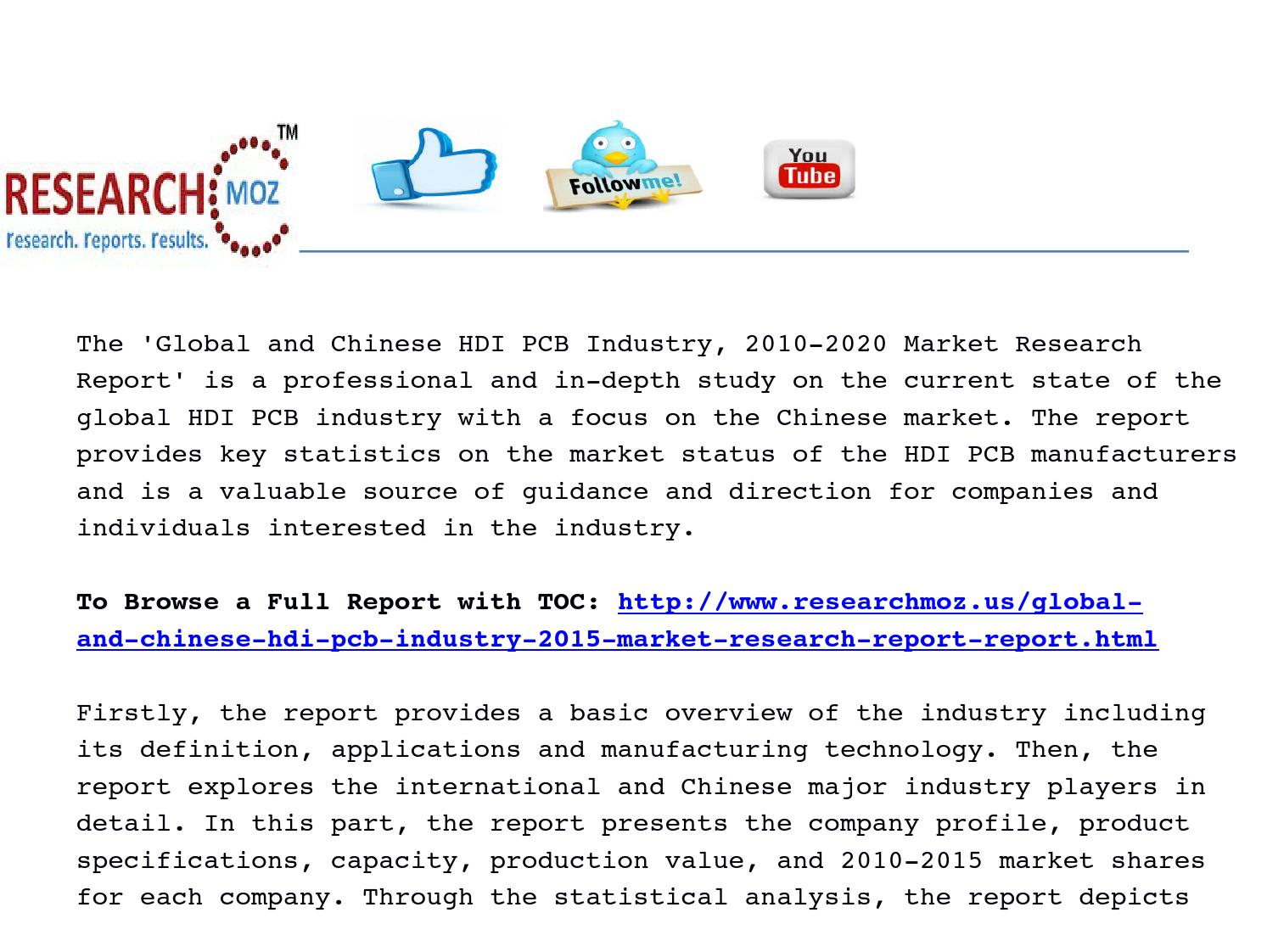 Chinese hdi pcb industry 2015 global market analysis