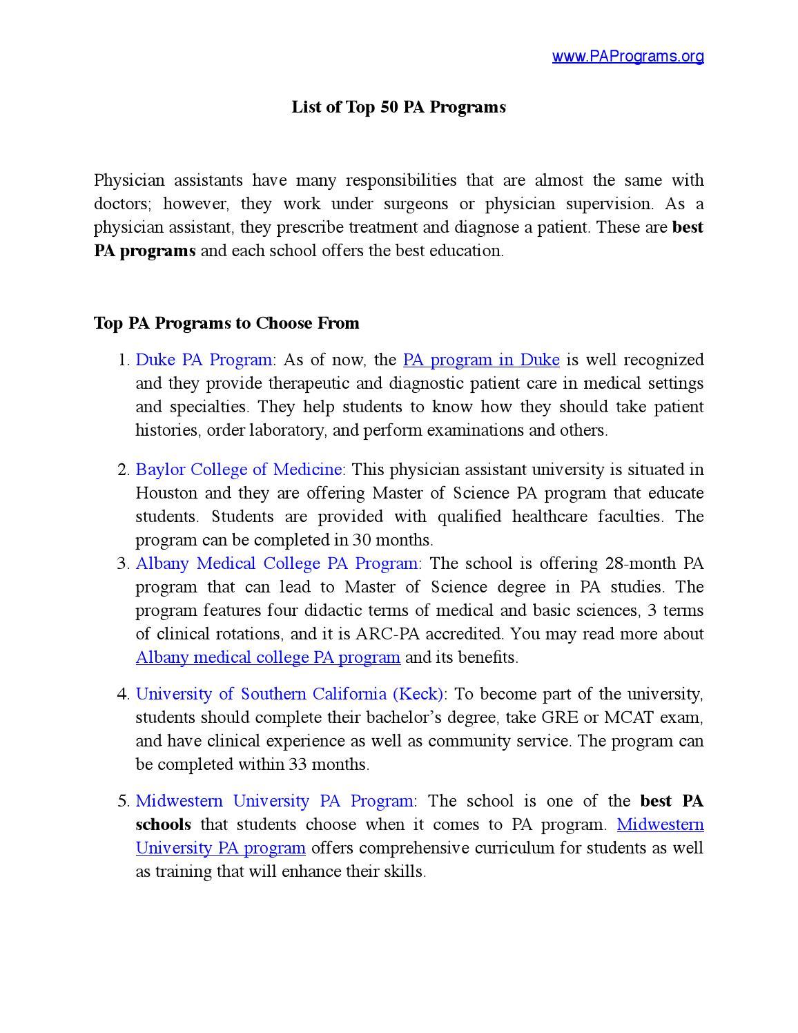 Best Pa Schools >> Best 50 Pa Programs By Pa Programs Issuu