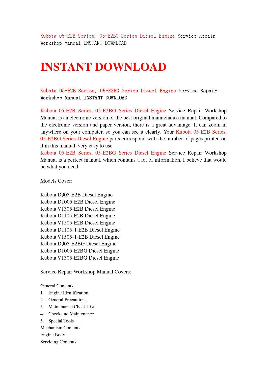 Kubota 05 e2b series, 05 e2bg series diesel engine service repair workshop  manual instant download by jshnefse - issuu